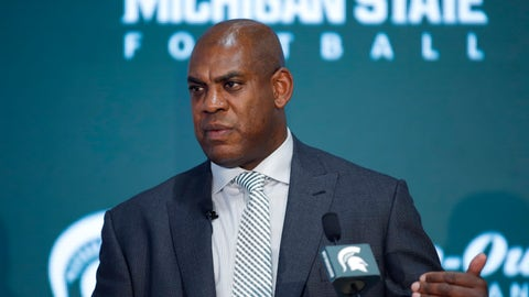 <p>               Mel Tucker, Michigan State's new football coach, speaks during a news conference Wednesday, Feb. 12, 2020, in East Lansing, Mich. (AP Photo/Al Goldis)             </p>