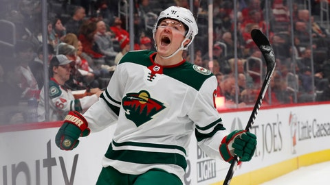 <p>               Minnesota Wild center Ryan Donato (6) celebrates his goal against the Detroit Red Wings in the first period of an NHL hockey game Thursday, Feb. 27, 2020, in Detroit. (AP Photo/Paul Sancya)             </p>