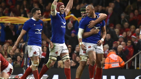 <p>               France's Gael Fickou, right, celebrates after scoring his try but it is disallowed for a forward pass during the Six Nations rugby union international between Wales and France at the Principality Stadium in Cardiff, Wales, Saturday, Feb. 22, 2020. (AP Photo/Rui Vieira)             </p>