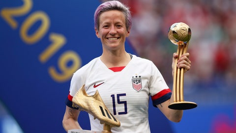 <p>               FILE - In this Sunday, July 7, 2019 file photo, United States' Megan Rapinoe poses with her individual awards at the end of the Women's World Cup final soccer match between US and The Netherlands at the Stade de Lyon in Decines, outside Lyon, France. The U.S. men's national team urged the U.S. Soccer Federation to sharply increase pay of the American women and accused the governing body of making low-ball offers in negotiations with the men. The union for the women's team filed a gender discrimination lawsuit against the USSF that is scheduled for trial starting May 5. The women agreed to a collective bargaining agreement in April 2017 that extends through 2021. (AP Photo/Francisco Seco, File)             </p>