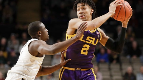 <p>               LSU forward Trendon Watford (2) is defended by Vanderbilt's Maxwell Evans, left, in the first half of an NCAA college basketball game Wednesday, Feb. 5, 2020, in Nashville, Tenn. (AP Photo/Mark Humphrey)             </p>