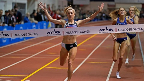 <p>               Elle Purrier reacts after winning the NYRR Wanamaker Mile at the Millrose Games track and field meet Saturday, Feb. 8, 2020, in New York. (AP Photo/Adam Hunger)             </p>