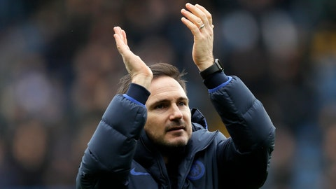 <p>               Chelsea Manager Frank Lampard celebrates his team winning their English Premier League soccer match against Tottenham Hotspur in London, England, Saturday, Feb. 22, 2020. (AP Photo/Kirsty Wigglesworth)             </p>