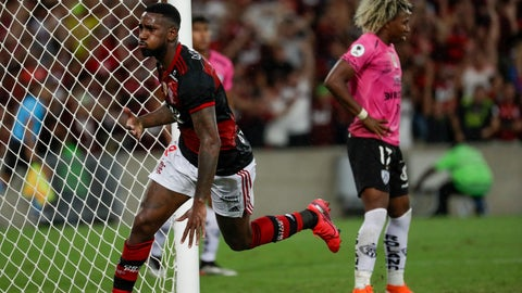 <p>               Gerson of Brazil's Flamengo celebrates scoring his side's second goal against Ecuador's Independiente del Valle during the final match of the Recopa at the Maracana stadium in Rio de Janeiro, Brazil, Wednesday, Feb. 26, 2020. (AP Photo/Leo Correa)             </p>