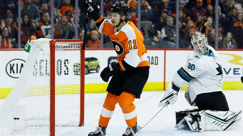 <p>               Philadelphia Flyers' Travis Konecny (11) celebrates after scoring a goal against San Jose Sharks' Aaron Dell (30) during the second period of an NHL hockey game, Tuesday, Feb. 25, 2020, in Philadelphia. (AP Photo/Matt Slocum)             </p>