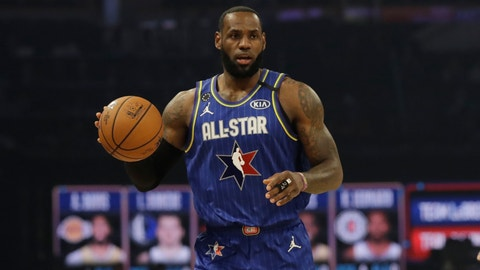 <p>               LeBron James of the Los Angeles Lakers dribbles during the first half of the NBA All-Star basketball game Sunday, Feb. 16, 2020, in Chicago. (AP Photo/Nam Huh)             </p>