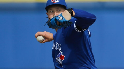 <p>               Toronto Blue Jays' Nate Pearson delivers a pitch during live batting practice at a spring training baseball workout Friday, Feb. 21, 2020, in Dunedin, Fla. (AP Photo/Frank Franklin II)             </p>