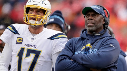 <p>               FILE - In this  Sunday, Dec. 29, 2019 file photo, Los Angeles Chargers head coach Anthony Lynn stands next to quarterback Philip Rivers (17) during the second half of an NFL football game against the Kansas City Chiefs in Kansas City, Mo. Anthony Lynn will go into next season with a contract extension and a reworked coaching staff. The Los Angeles Chargers coach has signed an extension according to a team official, Tuesday, Feb. 4, 2020. (AP Photo/Charlie Riedel, File)             </p>