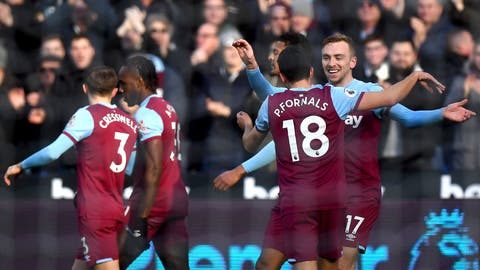 <p>               West Ham United's Jarrod Bowen, right, celebrates with teammates after scoring his side's first goal of the game during their English Premier League soccer match against Southampton at London Stadium, in London, Saturday, Feb. 29, 2020. (Victoria Jones/PA via AP)             </p>
