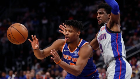 <p>               New York Knicks guard Dennis Smith Jr. passes as Detroit Pistons guard Langston Galloway (9) defends during the first half of an NBA basketball game, Saturday, Feb. 8, 2020, in Detroit. (AP Photo/Carlos Osorio)             </p>