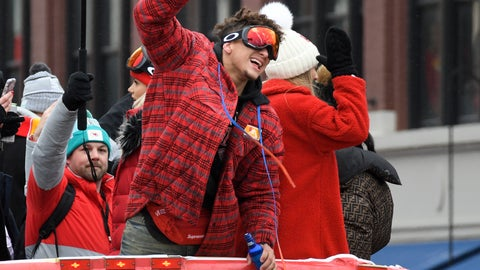 <p>               Kansas City Chiefs quarterback Patrick Mahomes cheers with the crowd during a parade through downtown Kansas City, Mo. Wednesday, Feb. 5, 2020 to celebrate the City Chiefs victory in the NFL's Super Bowl 54. (AP Photo/Reed Hoffmann)             </p>