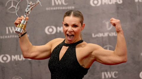<p>               Oksana Masters poses with the 'Sportsperson of the Year with a Disability Award' during the 2020 Laureus World Sports Awards in Berlin, Germany, Monday, Feb. 17, 2020. (AP Photo/Michael Sohn)             </p>