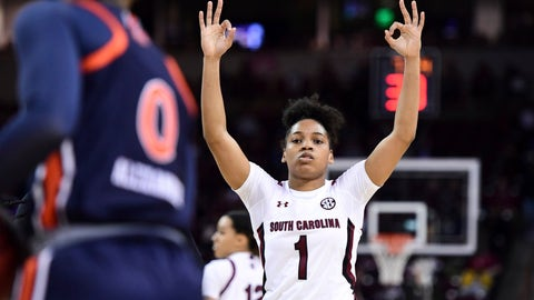 <p>               South Carolina guard Zia Cooke (1) celebrates a three-point basket against Auburn during the first half of an NCAA college basketball game Thursday, Feb. 13, 2020, in Columbia, S.C. (AP Photo/Sean Rayford)             </p>