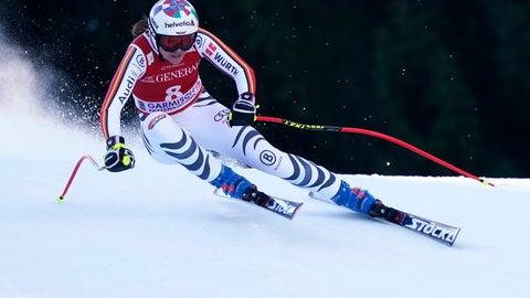 <p>               Germany's Viktoria Rebensburg competes during an alpine ski, women's World Cup downhill, in Garmish Partenkirchen, Germany, Saturday, Feb. 8, 2020. (AP Photo/Gianni Auletta)             </p>