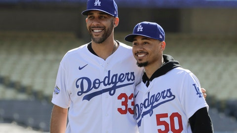 <p>               New Los Angeles Dodgers players David Price, left, and Mookie Betts pose for a picture during a news conference to announce their acquisition at Dodger Stadium in Los Angeles, Wednesday, Feb. 12, 2020. (AP Photo/Chris Carlson)             </p>