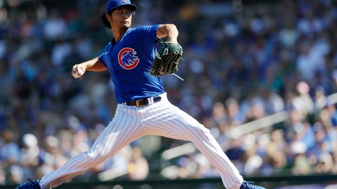<p>               Chicago Cubs starting pitcher Yu Darvish, of Japan, works against a Milwaukee Brewers batter during the first inning of a spring training baseball game Saturday, Feb. 29, 2020, in Mesa, Ariz. (AP Photo/Gregory Bull)             </p>