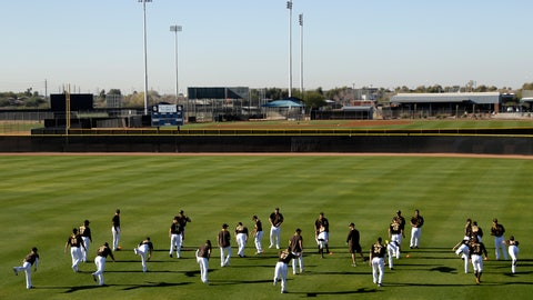 <p>               San Diego Padres players stretch during spring training baseball practice Saturday, Feb. 15, 2020, in Peoria, Ariz. (AP Photo/Charlie Riedel)             </p>
