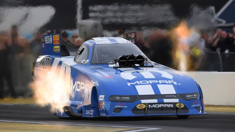 <p>               In this photo provided by the NHRA, Matt Hagan powers his Funny Car to the provisional top spot Friday, Feb. 21, 2020, at the NHRA Arizona Nationals drag races in Chandler, Ariz. (Marc Gewertz/NHRA via AP)             </p>