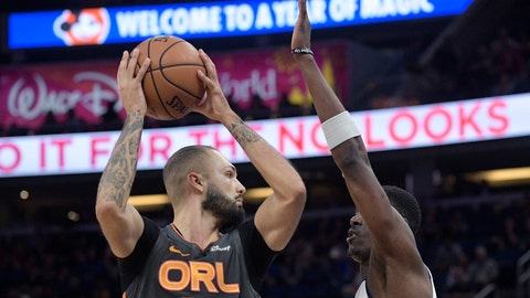 <p>               Orlando Magic guard Evan Fournier (10) looks to pass after driving to the basket in front of Detroit Pistons forward Tony Snell, right, during the first half of an NBA basketball game Wednesday, Feb. 12, 2020 in Orlando, Fla. (AP Photo/Phelan M. Ebenhack)             </p>