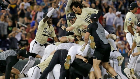 <p>               FILE - In this June 26, 2019, file photo, Vanderbilt players celebrate after defeating Michigan to win Game 3 of the NCAA College World Series baseball finals in Omaha, Neb. The Commodores won their second national championship since 2014, beating Michigan in the College World Series finals. Vanderbilt's 59 wins set a Southeastern Conference record. (AP Photo/Nati Harnik, File)             </p>