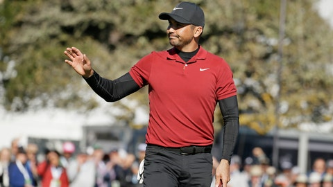 <p>               Jason Day, of Australia, waves after making a birdie putt on the 18th green of the Pebble Beach Golf Links during the second round of the AT&T Pebble Beach National Pro-Am golf tournament Friday, Feb. 7, 2020, in Pebble Beach, Calif. (AP Photo/Eric Risberg)             </p>