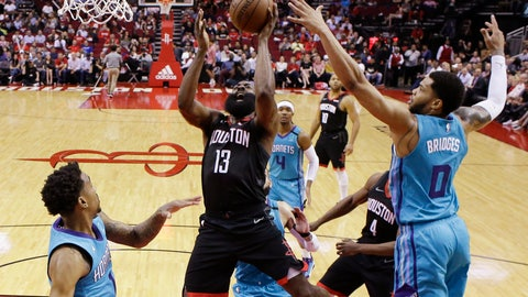 <p>               Houston Rockets guard James Harden (13) shoots as Charlotte Hornets forward Miles Bridges (0) defends during the first half of an NBA basketball game Tuesday, Feb. 4, 2020, in Houston. (AP Photo/Eric Christian Smith)             </p>