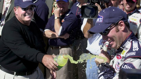 <p>               FILE - In this April 28, 2002, file photo, winner Jimmie Johnson, right, gets cooled off by car owner Rick Hendrick as they celebrate in Victory Lane after Johnson won the NASCAR auto race at California Speedway in Fontana, Calif. When Johnson won his first NASCAR Cup Series race at Fontana 18 years ago, this famously worn-out asphalt track had a whole lot less wear and tear. So did Johnson, who is visiting his home track this weekend for the last time as a full-time driver. (AP Photo/Will Lester, File)             </p>