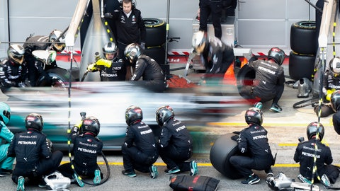 <p>               Mercedes-AMG Petronas' Lewis Hamilton makes a pit stop during a Formula One pre-season testing session at the Barcelona Catalunya racetrack in Montmelo, outside Barcelona, Spain, Wednesday, Feb. 19, 2020. (AP Photo/Joan Monfort)             </p>