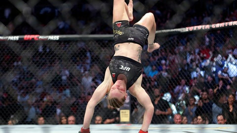 <p>               Valentina Shevchecko does a back flip after defeating Katlyn Chookagian during the third round of awomen's flyweight mixed martial arts bout at UFC 247 on Saturday, Feb. 8, 2020, in Houston. (AP Photo/Michael Wyke)             </p>