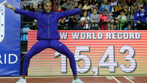 <p>               Yulimar Rojas, of Venezuela celebrates after breaking the world record in the women's triple jump final during the World Athletics Indoor Tour meeting in Madrid, Spain, Friday, Feb. 21, 2020. (AP Photo/Manu Fernandez)             </p>