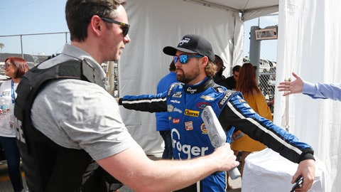 <p>               Ricky Stenhouse Jr., right, goes through a security checkpoint before the drivers meeting for the NASCAR Daytona 500 auto race at Daytona International Speedway, Sunday, Feb. 16, 2020, in Daytona Beach, Fla. Extra security measures were taken at the speedway because of the visit of President Donald Trump. (AP Photo/Reinhold Matay)             </p>