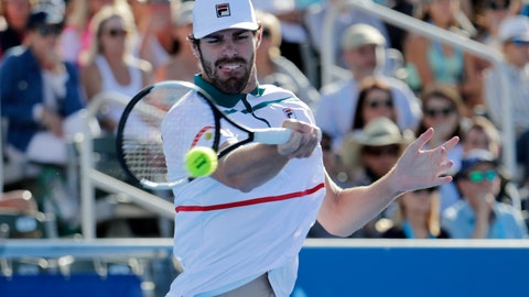 <p>               Reilly Opelka returns to Yoshihito Nishioka, of Japan, during the Delray Beach Open singles final tennis match in Delray Beach, Fla., Sunday, Feb. 23, 2020. (AP Photo/Lynne Sladky)             </p>