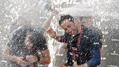 <p>               The British SailGP team spray champagne on their skipper Ben Ainslie as they celebrate winning the first leg of the series in Sydney, Saturday, Feb. 29, 2020. Britain beat Australia in the final match race. (AP Photo/Rick Rycroft)             </p>
