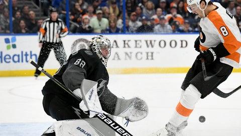 <p>               Tampa Bay Lightning goaltender Andrei Vasilevskiy (88) makes a save as Philadelphia Flyers defenseman Robert Hagg (8) looks for a rebound during the third period of an NHL hockey game Saturday, Feb. 15, 2020, in Tampa, Fla. (AP Photo/Jason Behnken)             </p>