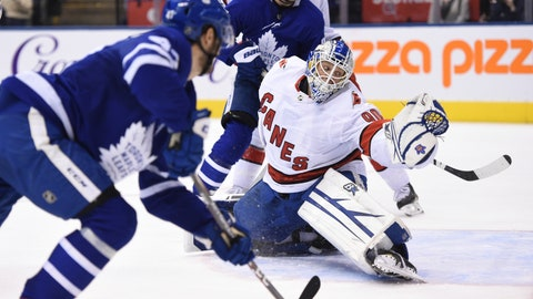 <p>               Toronto Maple Leafs left wing Pierre Engvall (47) scores his team's third goal of the game against Carolina Hurricanes emergency goalie David Ayres (90) during second-period NHL hockey game action in Toronto, Saturday, Feb. 22, 2020. (Frank Gunn/The Canadian Press via AP)             </p>