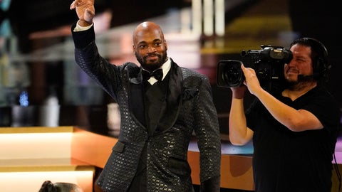 <p>               Washington Redskins' Adrian Peterson waves after given the Art Rooney Sportsmanship Award at the NFL Honors football award show Saturday, Feb. 1, 2020, in Miami. (AP Photo/David J. Phillip)             </p>