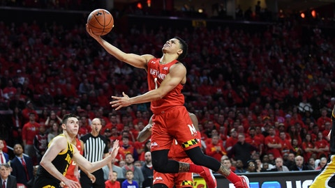 <p>               Maryland guard Anthony Cowan Jr. (1) goes to the basket for a layup during the second half of the team's NCAA college basketball game against Iowa on Thursday, Jan. 30, 2020, in College Park, Md. (AP Photo/Terrance Williams)             </p>