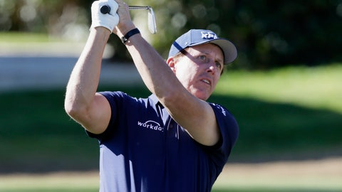 <p>               Phil Mickelson follows through on the fourth tee during the third round of The American Express golf tournament on the Stadium Course at PGA West in La Quinta, Calif., Saturday, Jan. 18, 2020. (AP Photo/Alex Gallardo)             </p>