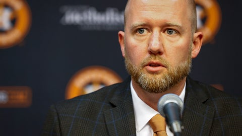 <p>               James Click, the newly-hired Houston Astros general manager, talks during a baseball press conference Tuesday, Feb. 4, 2020, at Minute Maid Park in Houston. (Jon Shapley/Houston Chronicle via AP)             </p>