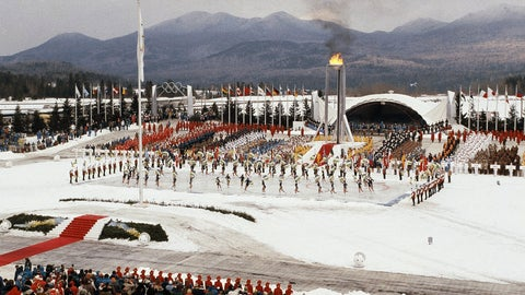 <p>               FILE - This Feb. 13, 1980, file photo shows the opening ceremony of the XIII Winter Olympics in Lake Placid, N.Y. Lake Placid is celebrating the 40th anniversary of the Winter Olympics that were held in the Adirondack Mountain village. It's an important moment for Lake Placid, which will host the 2023 Winter World University Games, and a reminder of its place as one of only three resort towns to host two Winter Olympiads.(AP Photo)             </p>