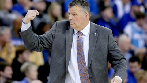 <p>               Creighton coach Greg McDermott gestures during the first half of an NCAA college basketball game against Butler in Omaha, Neb., Sunday, Feb. 23, 2020. (AP Photo/Nati Harnik)             </p>