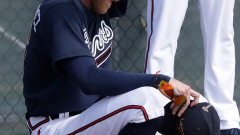 <p>               Atlanta Braves starting pitcher Mike Foltynewicz wipes his brow after a pitching session during spring training baseball camp Thursday, Feb. 13, 2020, in North Port, Fla. (AP Photo/John Bazemore)             </p>