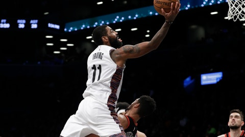 <p>               Brooklyn Nets' Kyrie Irving (11) shoots over Chicago Bulls' Chandler Hutchison during the second half of an NBA basketball game Friday, Jan. 31, 2020, in New York. The Nets won 133-118. (AP Photo/Frank Franklin II)             </p>