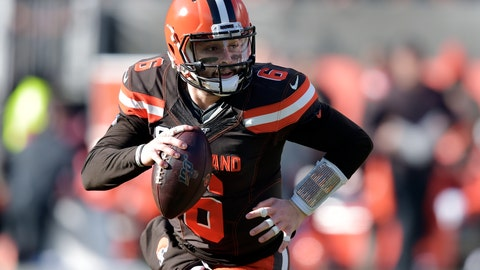 """<p>               FILE - In this Nov. 24, 2019, file photo, Cleveland Browns quarterback Baker Mayfield (6) looks to pass in the first quarter of an NFL football game against the Miami Dolphins in Cleveland. On Friday, jan. 31, 2020, Mayfield, who struggled from the outset while the Browns had a disappointing 6-10 season, went face to face with one one of his biggest critics, former NFL coach Rex Ryan and current ESPN analyst, who called the former No. 1 overall pick """"overrated as hell"""" and felt he regressed after a rocking first year when he broke the league rookie record for touchdown passes. (AP Photo/David Richard, File)             </p>"""