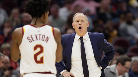<p>               Cleveland Cavaliers head coach John Beilein gives instructions to players in the second half of an NBA basketball game against the New York Knicks, Monday, Feb. 3, 2020, in Cleveland. New York won 139-134 in overtime. (AP Photo/Tony Dejak)             </p>