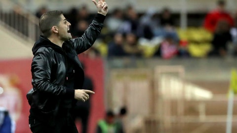 <p>               Monaco's head coach Robert Moreno reacts during the French League One soccer match between Monaco and Paris Saint-Germain at the Louis II stadium in Monaco, Wednesday, Jan. 15, 2019. (AP Photo/Daniel Cole)             </p>