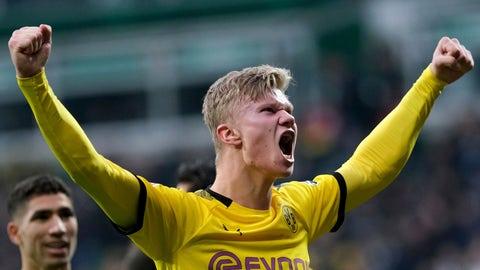 <p>               Dortmund's Erling Haaland celebrates scoring a goal against Werder Bremen during the German Bundesliga soccer match in Bremen, Germany, Saturday Feb. 22, 2020. (Peter Steffen/DPA via AP)             </p>