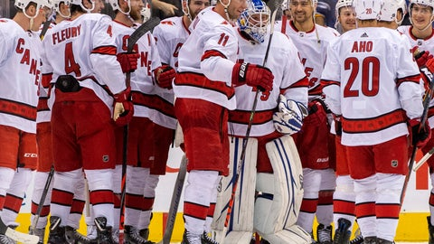 <p>               In this Saturday, Feb. 22, 2020 photo, members of the Carolina Hurricanes congratulate emergency goaltender David Ayres after they beat the Toronto Maple Leafs 6-3 in an NHL hockey game in Toronto, Saturday, Feb. 22, 2020. (Frank Gunn/The Canadian Press via AP)             </p>