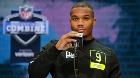 <p>               Ohio State running back J. K. Dobbins speaks during a press conference at the NFL football scouting combine in Indianapolis, Wednesday, Feb. 26, 2020. (AP Photo/Michael Conroy)             </p>