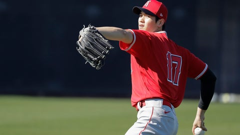 <p>               Los Angeles Angels' Shohei Ohtani throws during spring training baseball practice, Wednesday, Feb. 12, 2020, in Tempe, Ariz. (AP Photo/Darron Cummings)             </p>